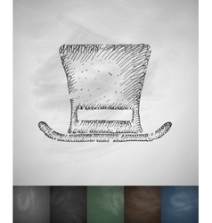 Cylinder hat icon hand drawn vector