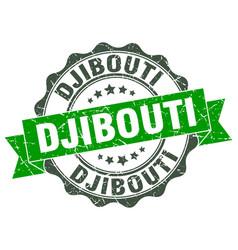 Djibouti round ribbon seal vector