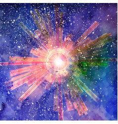 explosion with particles on starry sky watercolor vector image