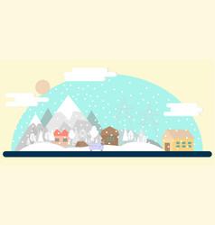 flat winter landscape vector image vector image