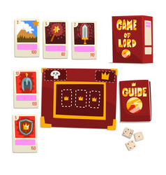 Game of lord magic board game elements set vector