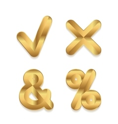 Golden alphabet Set of metallic 3d punctuation vector image