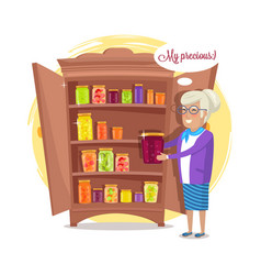 granny and fruit and vegetables conservation shelf vector image