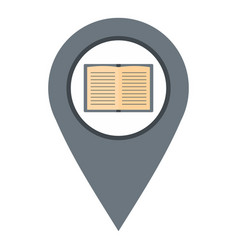 gray map pointer with book icon isolated vector image