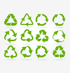 green recycle arrow icons vector image