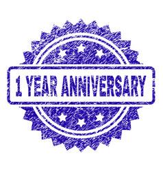 Grunge 1 year anniversary stamp seal vector
