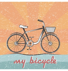 grunge retro of bicycle vector image