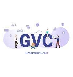 Gvc global value chain concept with big word or vector