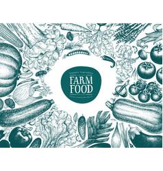 hand drawn vegetables frame vintage style vector image