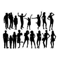 happy family and sexy girl silhouettes vector image