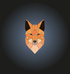 Head fox logo in geometry style vector