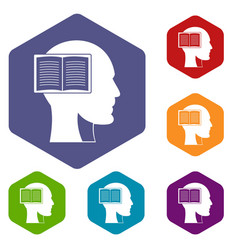 Head with open book icons set hexagon vector