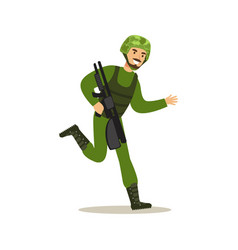 Infantry troops soldier character in camouflage vector