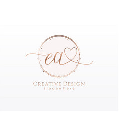 Initial ea handwriting logo with circle template vector