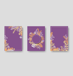 Invitation cards with herbal twigs and branches vector