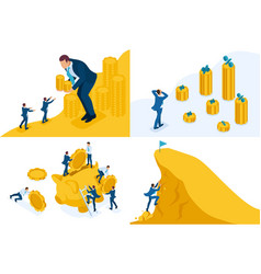 Isometric concepts goal achievement money earning vector