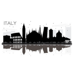 italy skyline black and white silhouette with vector image