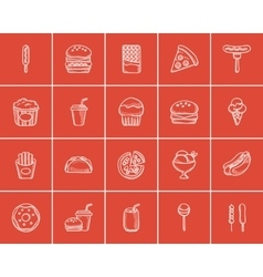 Junk food sketch icon set vector