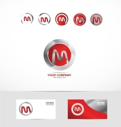 Letter M metal circle logo icon vector