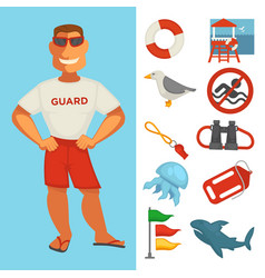 lifeguard or sea guard watch and water rescue vector image