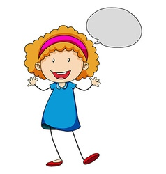 Little girl with bubble speech vector image