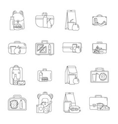 Lunchbox food icons set outline style vector