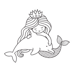 mermaid floating with little dolphin vector image
