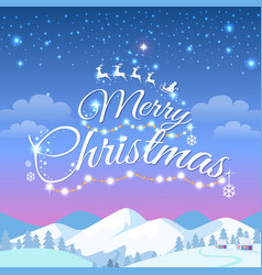 merry christmas greeting card with snowy mountains vector image