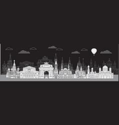 moscow skyline line art 4 vector image