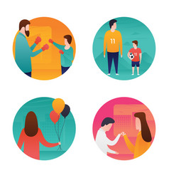 Mothers and fathers day flat set vector