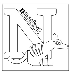 Numbat Letter N Coloring Page Vector ...