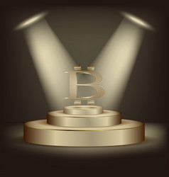 on the podium is the golden symbol of bitcoin vector image