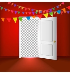 Open door with transparent vector image