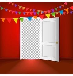 Open door with transparent vector