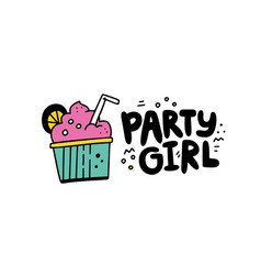 party girl sticker vector image