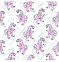 Pink reptile monster teen seamless pattern vector
