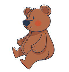 Plush teddy bear toy with red cheeks vector