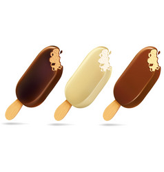 Popsicle choc-ice lollipop ice cream in chocolate vector