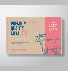 Premium quality goat meat packaging label vector