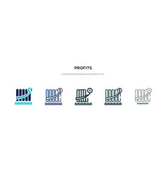 Profits icon in different style two colored and vector