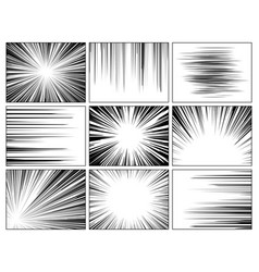 Radial comics lines comic book speed horizontal vector
