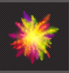 Realistic color dust for holi festival on dark vector