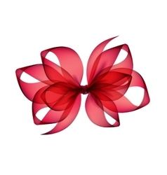 Red Scarlet Transparent Bow Top View on Background vector image