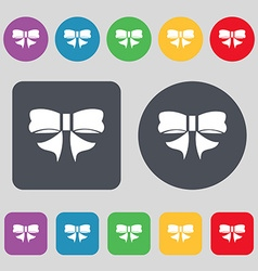 Ribbon Bow icon sign A set of 12 colored buttons vector