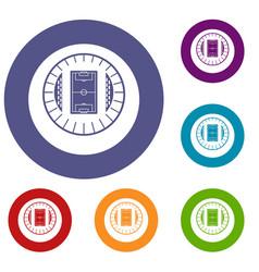Round stadium top view icons set vector