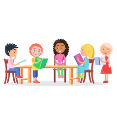 Schoolchildren sitting at desk and reading books vector