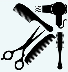 Scissors comb for hair and dryer vector