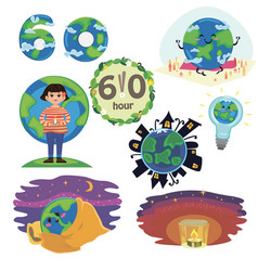 Set earth hour concept save planet 60 minut or one vector