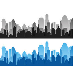 set of black and blue horizontal cityscape vector image
