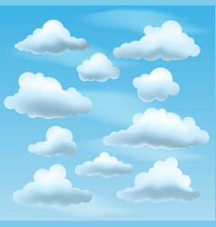 Set of clouds on blu sky background vector